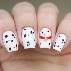 "Nail Art Inspired by Disney's ""101 Dalmatians."""