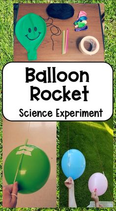 This simple science experiment for kid teaches kids a bit about how rockets work.  Have fun outside with this science activity as kids test, race and improve their balloon rocket - like a scientist!  #STEMelementary #STEMactivitieselementary #STEMactivitieselementary Kid Experiments At Home, Balloon Science Experiments, Chemistry Experiments, Preschool Science, Science For Kids, Summer Science, Science Fun, Physical Science, Preschool Learning