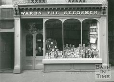 Victorian shop front - Wards The Seedsman, Northgate Street, Bath, 1961 Mall Facade, Victorian Books, Underground Cities, Shop Fronts, Restaurant, Shop Front Design, Great View, Luxury Interior, Simple