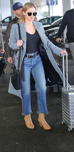 Riverdale's Lili Reinhart looks chic in plaid coat as she joins rumoured beau Cole Sprouse in Paris Black Chinos, Black Vest, Lili Reinhart, Fall Outfits, Casual Outfits, Cole Sprouse, Stylish Jackets, Plaid Coat, Looks Chic