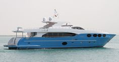 One of the latest superyacht models under the Majesty Yachts fleet is the Majesty 105. The striking blue-hulled, triple-decked superyacht features 5 staterooms, including a luxurious owner's stateroom, 2 crew cabins and one captain's cabin, 8 bathrooms in addition to a dayhead. Extensive exterior space – including a hard-topped sundeck fitted with comfortable sofa seating, a wet bar, fridge, icemaker and barbeque – makes this the perfect yacht for outdoor entertaining.