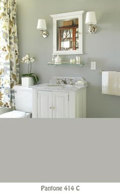 early morning mist benjamin moore, great color for bathhroom, very subtle warm light greenish hue