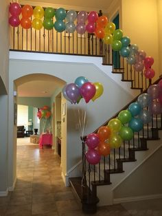 Cute balloons on stairway. Balloon decorations for party