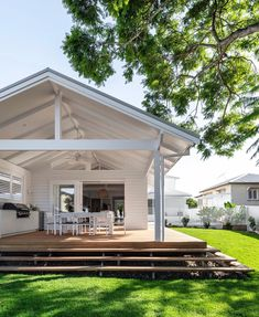 White high roof with wooden decking and steps. Outdoor Areas, Outdoor Rooms, Outdoor Living, Dream Home Design, House Design, Building Design, Building A House, Dream House Exterior, Big Houses