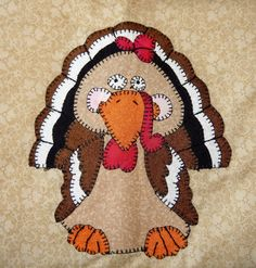 Turkey PDF applique pattern Thanksgiving quilt by MsPDesignsUSA