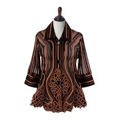Elegant Celtic Knot Soutache Jacket Button Down Closure Double Layered Collar Poly/Rayon Blend S-XXL Wash Cold or Dry Clean Imported Camel Style, Jacket Buttons, Celtic Knot, Caramel, Nyc, Elegant, Blouse, Jackets, Tops