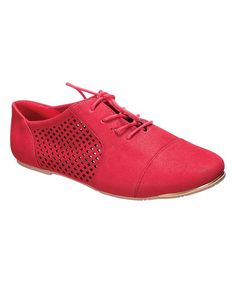 Red Perforated Cambridge Oxford
