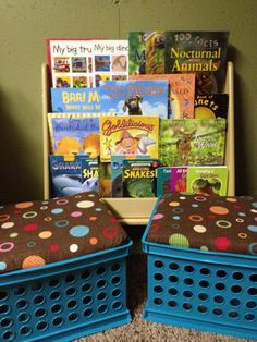 Sweet Life of Teaching - DiY cushioned crates as ottoman seating in reading nook.