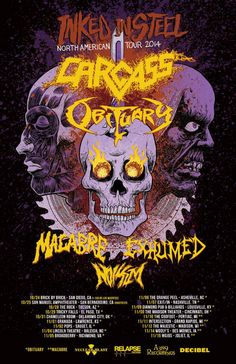 British liturgical death metallers Carcass has announced their return to North America this coming October and November alongside with death metal militants Obituary, abstract murder metal suspects Macabre, death and crushing grinding metallers Exhumed and newcomers Noisem.
