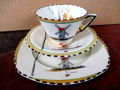 Art Deco / Vintage China Tea Set trio.Burleigh Ware.Zenith.Tranquil.British