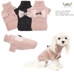 Simple but effective this Puppy Angel Bow Bow Dog Sweater is great for the girls. Made from 70% Acrylic with 30% Wool this simple design features a knitted in bow with pearls on the back. There is even a little gold coin charm hanging from the middle under a satin spotty bow.
