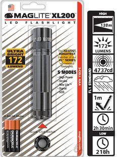 Maglite XL 200 LED High Power 172 Lumens Flashlight 5 Modes