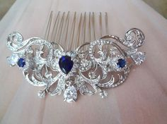 Sapphire Blue Bridal hair comb Something blue Wedding hair comb Hair Jewelry Wedding accessories For a Bride Crystal hair piece KATE Brauthaarkamm Teardrop Crystals Hair von QueenMeJewelryLLC Bridal Hair Pins, Hair Comb Wedding, Wedding Hair Pieces, Bridal Hairpiece, Wedding Veils, Bridal Headpieces, Wedding Makeup, Hair Jewelry, Wedding Jewelry