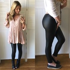 """They're Back! Faux Leather Leggings They're back! I have sold these every year and they are always a hit!! Simple, easy to pair with EVERYTHING! Great staple all year round Very stretchy, comfy to wear and move around in. S= 25/26 • M= 26/27 • L= 27/28  •Modeling: Small ( I'm Size 25 denim )  •Fit: 13"""" Waist• 35"""" Long• 28"""" Inseam •Material: 90% Poly• 10% Spandex  Please use """"Self Checkout"""" if you aren't an Establish Customer. Thank You  Pants Leggings"""