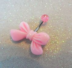 Belly ring with bow, bellybutton ring with a cute light pink bow on 14ga 12mm bar | YOUniqueDZigns - Jewelry on ArtFire