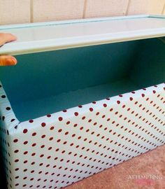 Upholstered old kitchen cabinet toy box