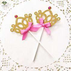 10 PCS Crown Topper Do Bolo de Casamento de Aniversário Da Princesa Picaretas Do Queque Carrinho Do Bebê Chuveiro Bolo de Natal Decoração Acessório
