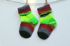 Knitted Baby Socks, Baby wool Socks, hand knit, wool knit, neon colors…