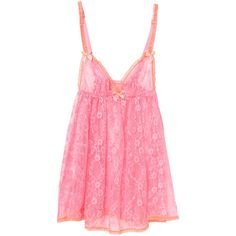 L'Agent by Agent Provocateur Monica Babydoll Chemise ($79) ❤ liked on Polyvore featuring intimates, chemises, lingerie, sleepwear, pink, lingerie slips, pink babydoll lingerie, lingerie chemise, pink slips and lacy slips