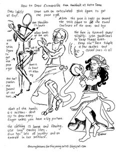 How to Draw Worksheets for The Young Artist: How To Draw Esmeralda From The Hunchback Of Notre Dame. Free Worksheet