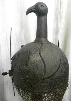 Asian Antiques Army Warrior Helmet Turkish Ottoman Arabic Calligraphy 15 Birds Figure Antiques 19c