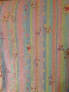 SPRINGS INDUSTRIES DISNEY WINNIE THE POOH'S RAINBOW FABRIC  BTHY  18 x 45  1/2 Y #SPRINGSINDUSTRIESDISNEY Disney Winnie The Pooh, Vintage Fabrics, Bro, Crisp, Sick, Industrial, Rainbow, Things To Sell, Home Decor