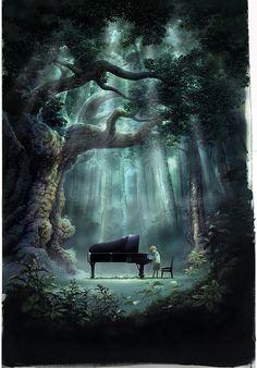 O jovem rei pediu que pudessem um piano na floresta.