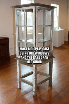 4 old windows put together with a base are converted into a vintage display cabinet.  Recycle, Upcycle, RePurpose!  For ideas and goods AND windows, shop at Estate ReSale & ReDesign, LLC in Bonita Springs, FL