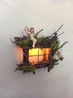 Fairy Window with Delicate Twinkling Light ~ Handcrafted by Olive Fairy Accessories, Fairy House, Fairy Door Fairy window with soft … Garden Gazebo, Fairy Garden Houses, Garden Cottage, Gnome Garden, Fairytale House, Fairy Garden Furniture, Fairy Tree, Fairy Crafts, Fairy Garden Accessories