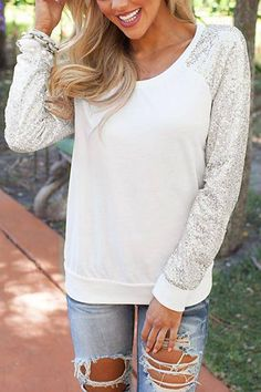 white sequins jumper