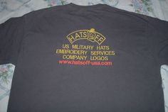 """HATS OFF """"T"""" Shirt back embroidery Embroidery Services, Hat Embroidery, Sweatshirts, Hats, T Shirt, Women, Supreme T Shirt, Tee Shirt, Hat"""