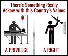 In America, health is a privilege while guns are a right. Does that seem right to you?