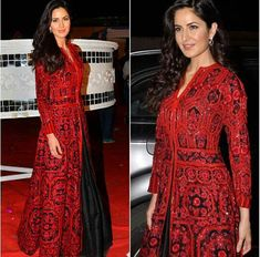 Katrina Kaif in a Red and Black long embroidered Outfit by Manish Malhotra at Umang Show 2016