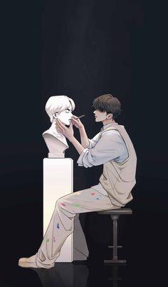 Taehyung Fanart, Vkook Fanart, Aesthetic Art, Aesthetic Anime, Arte Sketchbook, Anime Scenery Wallpaper, Bts Drawings, Boy Art, Cartoon Art