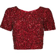 Rental Parker Burgundy Cascade Top (2.655 UYU) ❤ liked on Polyvore featuring tops, shirts, crop tops, red, crop, dresses, cropped tops, mesh top, sequined tops and sequined shirt