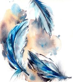 Feather Painting, Original Watercolor Painting, Blue Feathers Watercolour Art