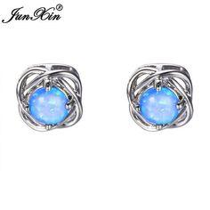 JUNXIN Charm Women Blue & White Fire Opal Stud Earring 925 Sterling Silver Filled Double Earrings For Women Fashion Jewelry