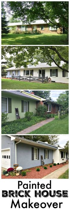 Painted Brick House Makeover form The Cards We Drew using Sherwin Williams Alabaster White Paint and Steely Gray. Home Exterior Makeover, Brick Ranch, Paint Brick, Brick Wall, Magnolia Homes, Industrial House, Exterior Paint, Cozy House, House Painting