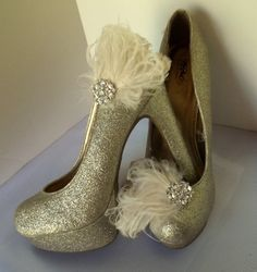 Bridal+Shoe+Clips++Curled+feathers+casual+womens+by+ShoeClipsOnly,+$34.00