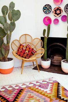 couleur magenta comment faire du rose en peinture piece dans un style mexicain avec des grands cactus