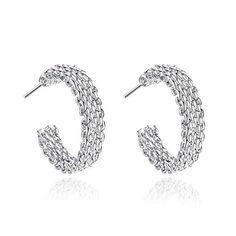 a418974a1 Women Earrings, Sterling Silver Plated Twisted Love Knot Stud Earrings  Infinity Earrings (C-