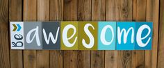 Awesome Wood Sign Teal and Grey by LemonPomegranateLane on Etsy