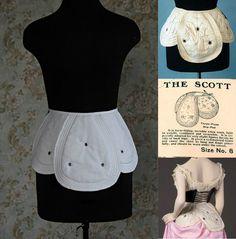 Edwardian Hip Pad - The Scott hip pad replica, c. Edwardian Dress, Edwardian Era, Historical Costume, Historical Clothing, Hip Pads, Corset Pattern, Pattern Sewing, Geek Jewelry, Bullet Jewelry