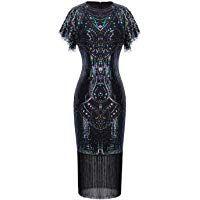 Details about Womens Dress Ladies Plus Size Flapper Sequin Lace Floral Short Sleeves Nouvelle