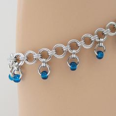 Blue beaded chainmaille anklet - Tattooed and Chained Chainmaille - 3