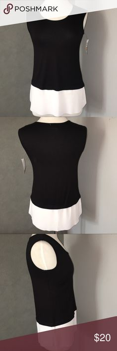 Bar III Black & White Sleeveless Top Black and white sleeveless top by bar III is soft & stretchy (rayon & spandex)with white poly trim flowing down to the bottom hem. Size small. It still has the Macy's tag attached. Flawless. Bar III Tops