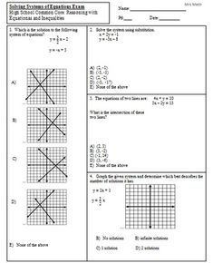 Solve Systems of Equations Given Word Problems Exam (Mrs