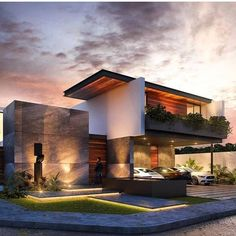 Top 10 cozy houses in the Modern style Sky Rye Design is part of Modern house exterior - Many are accustomed to that modern architecture is cold, metal and any coziness in particular, this is true, but not all projects Modern Exterior House Designs, Modern House Facades, Dream House Exterior, Modern Architecture House, Modern House Design, Exterior Design, Architecture Design, Architecture Interiors, Modern Houses