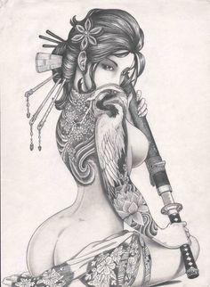 Geisha girl drawn by my cousin