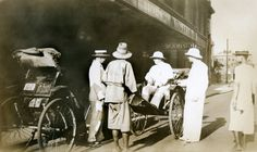 China, Shanghai, Astor House Hotel, American tourists arriving by rickshaw, 1933. Harry Real second from right.